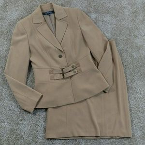 Kasper Size 4 Brown Skirt Suit Career Church Long